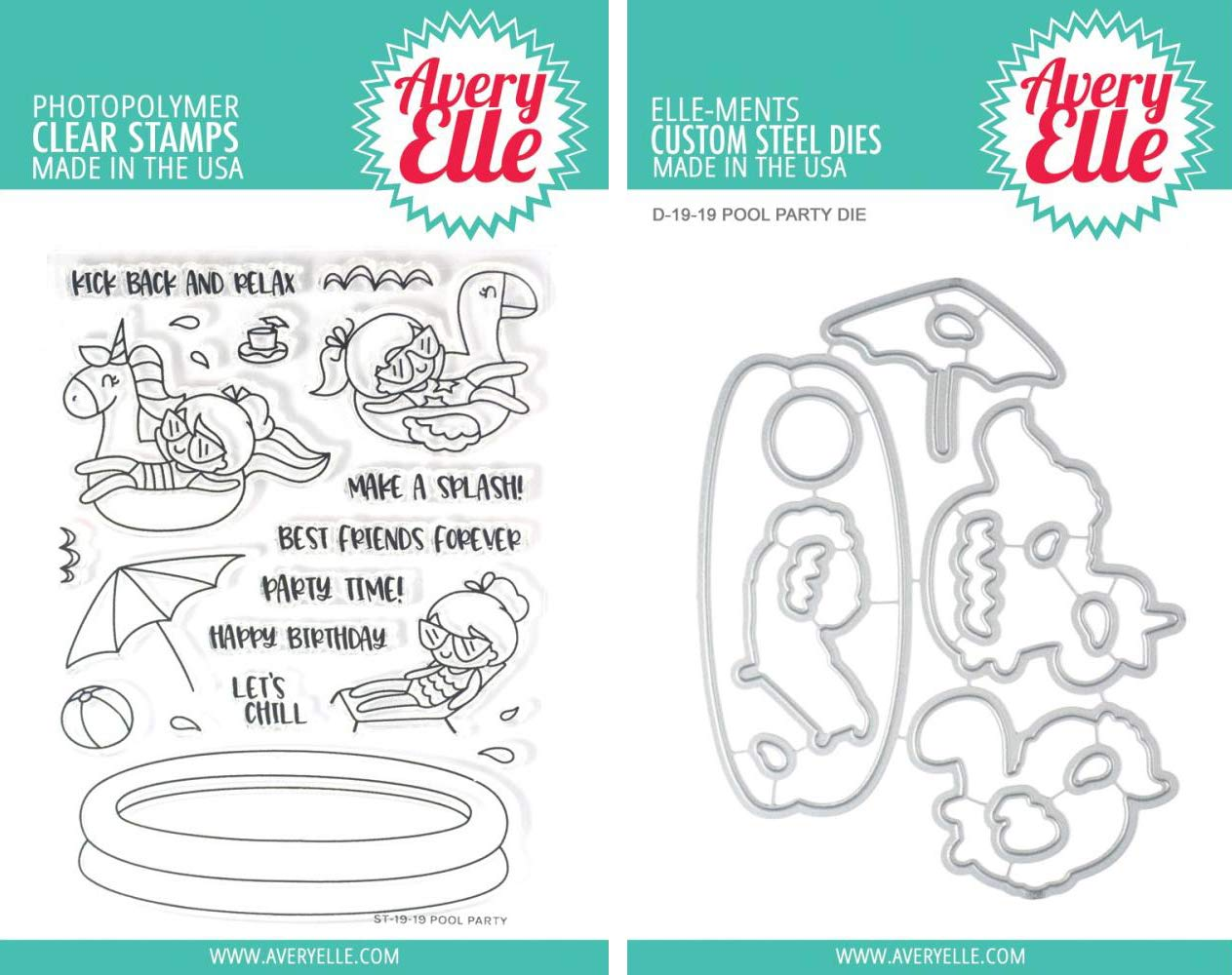 Avery Elle - Pool Party Clear Stamps and Dies Set - 2 Item Bundle