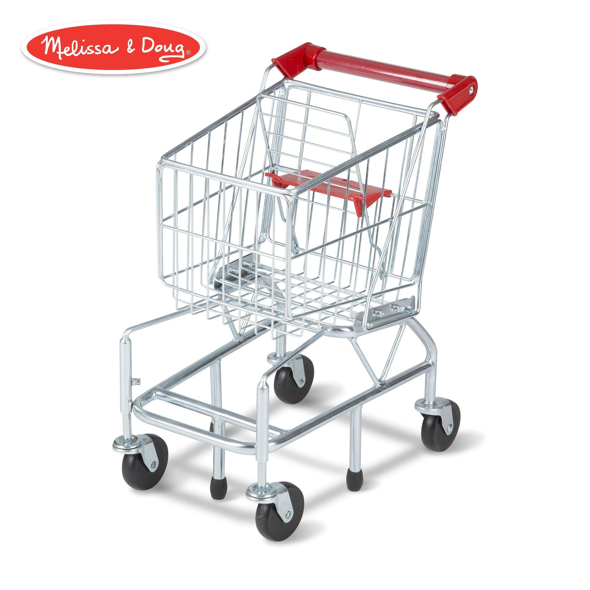 Melissa & Doug Toy Shopping Cart with Sturdy Metal Frame, Play Sets & Kitchens, Heavy-Gauge Steel Construction, 23.25'' H x 11.75'' W x 15'' L (Renewed)