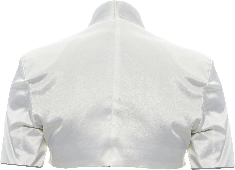 GIOVANI /& RICCHI Eleganter Langarm Satin Bolero Jacke 34 36 38 40 42 44 in Mehreren Farben
