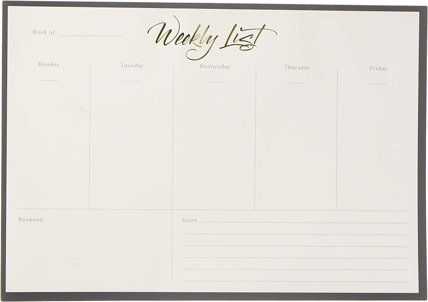 U Brands Weekly Note Pad Gold Foil-52 Pages (263U0624)