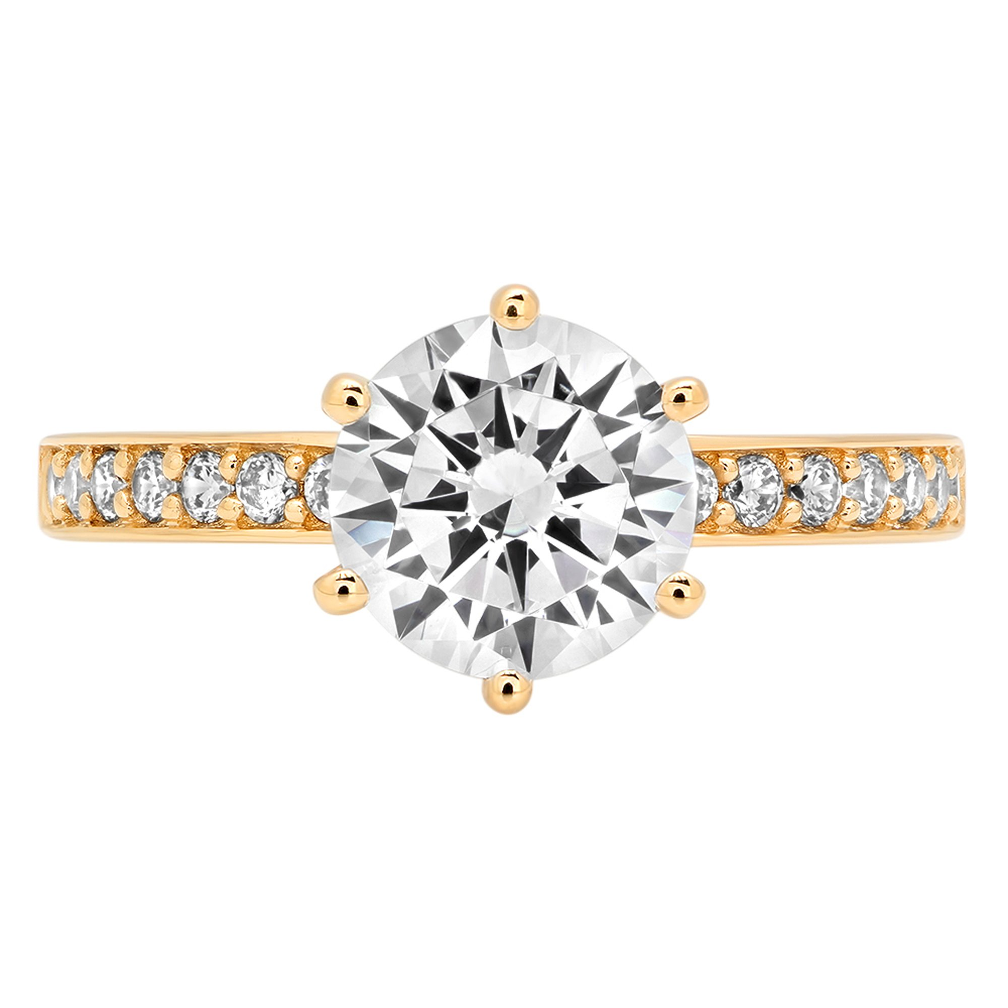Clara Pucci 2.06 ct Brilliant Round Cut CZ Designer Accent Solitaire Ring in Solid 14k Yellow Gold