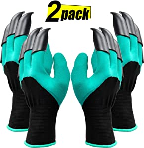 Garden Genie Gloves with Claws Waterproof Gardening Gloves For Digging and Planting, Best Gardening Gifts for Women and Men 2 Pair