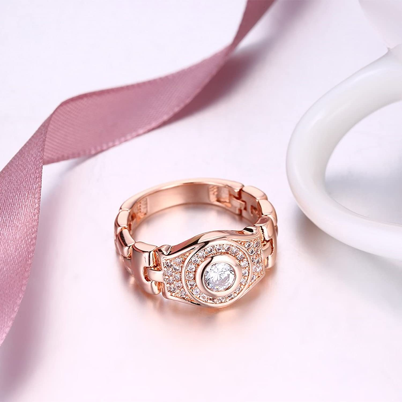Adisaer Joyería Anillo Cobre Damas Oro Rosa Mira La Banda Diamante ...