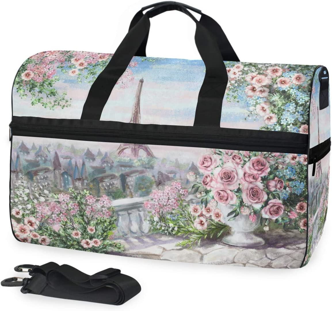 TFONE Eiffel Tower Flower Painting Duffel Bag Sports Gym Weekend Bags with Shoe Compartmen