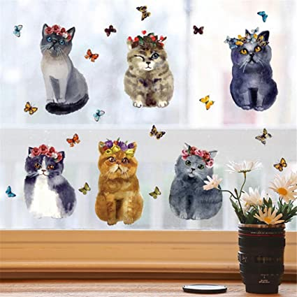 Amazon Com Highpot Cute Dog And Cat Wall Decals For Kids Rooms Fun