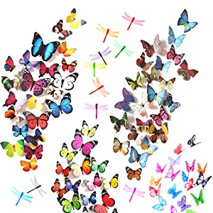 Heansun 90 PCS Dragonfly Butterfly Wall Decals, 3D Butterflies Removable Mural Stickers Wall Stickers Decal for Home Room Bedroom Nursery Decor (80 Butterfly and 10 Dragonfly)