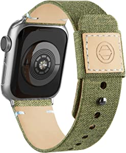 Adepoy Fabric Cloth Bands Compatible with Apple Watch 44mm 42mm 40mm 38mm, Canvas Strap with Soft Genuine Leather Lining and Snap Button for Apple iwatch Series 6/5/4/3/2/1 SE,ArmyGreen 38/40mm