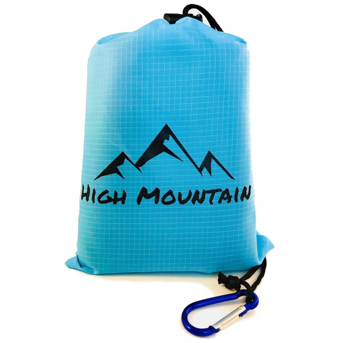 High Mountainピクニック毛布/防水アウトドアポケットTarp/コンパクトグランドカバーのビーチ、キャンプ/耐久性とひもでコーナーポケット、ループ、Stakes、、カラビナ付きポーチバッグ B076J5K44N