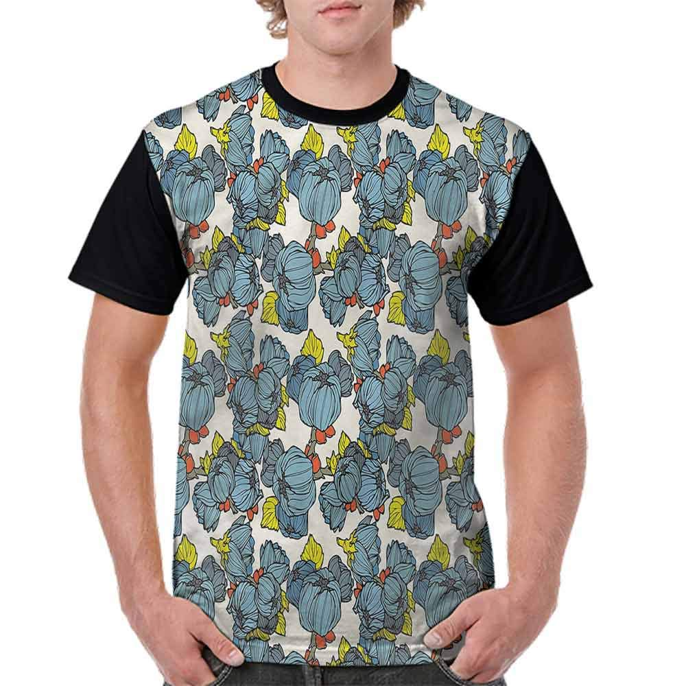 Casual Short Sleeve Graphic Tee Shirts,Blue Lupin Lively Garden Fashion Personality Customization