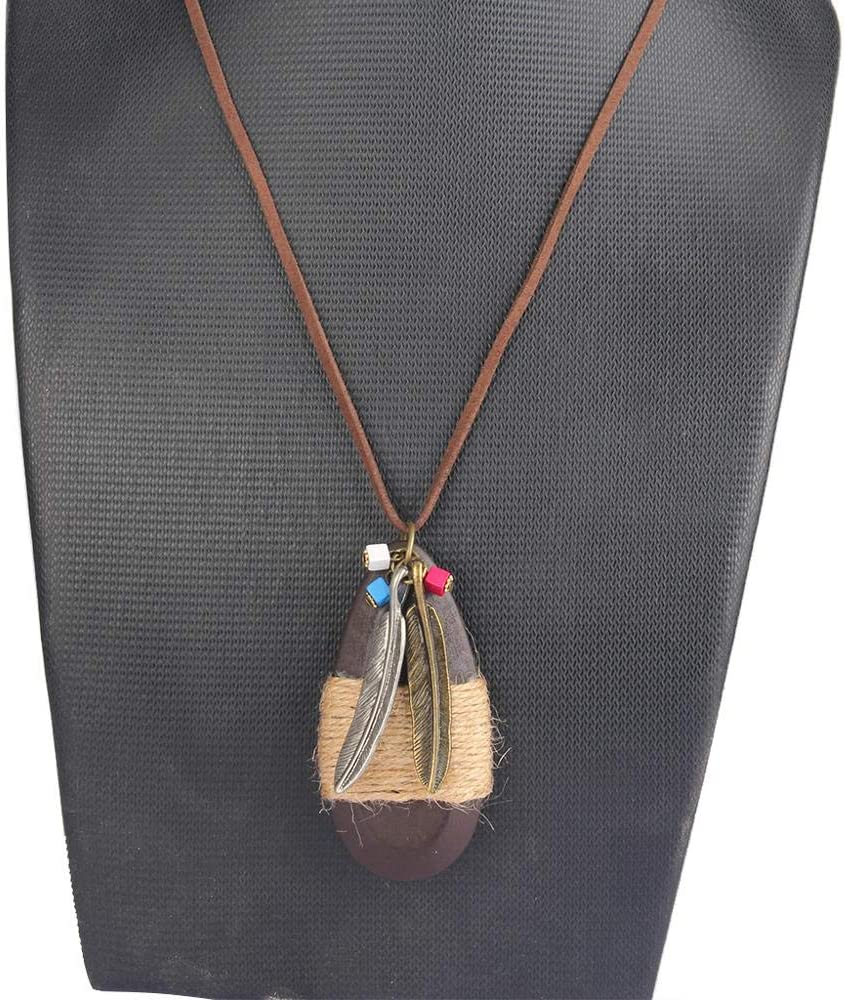 SELITE Rope WaterDrop Wood /& Tassel Feather Men Necklace Jewelry Women Punk Genuine Leather Statement Charm Choker Necklace green