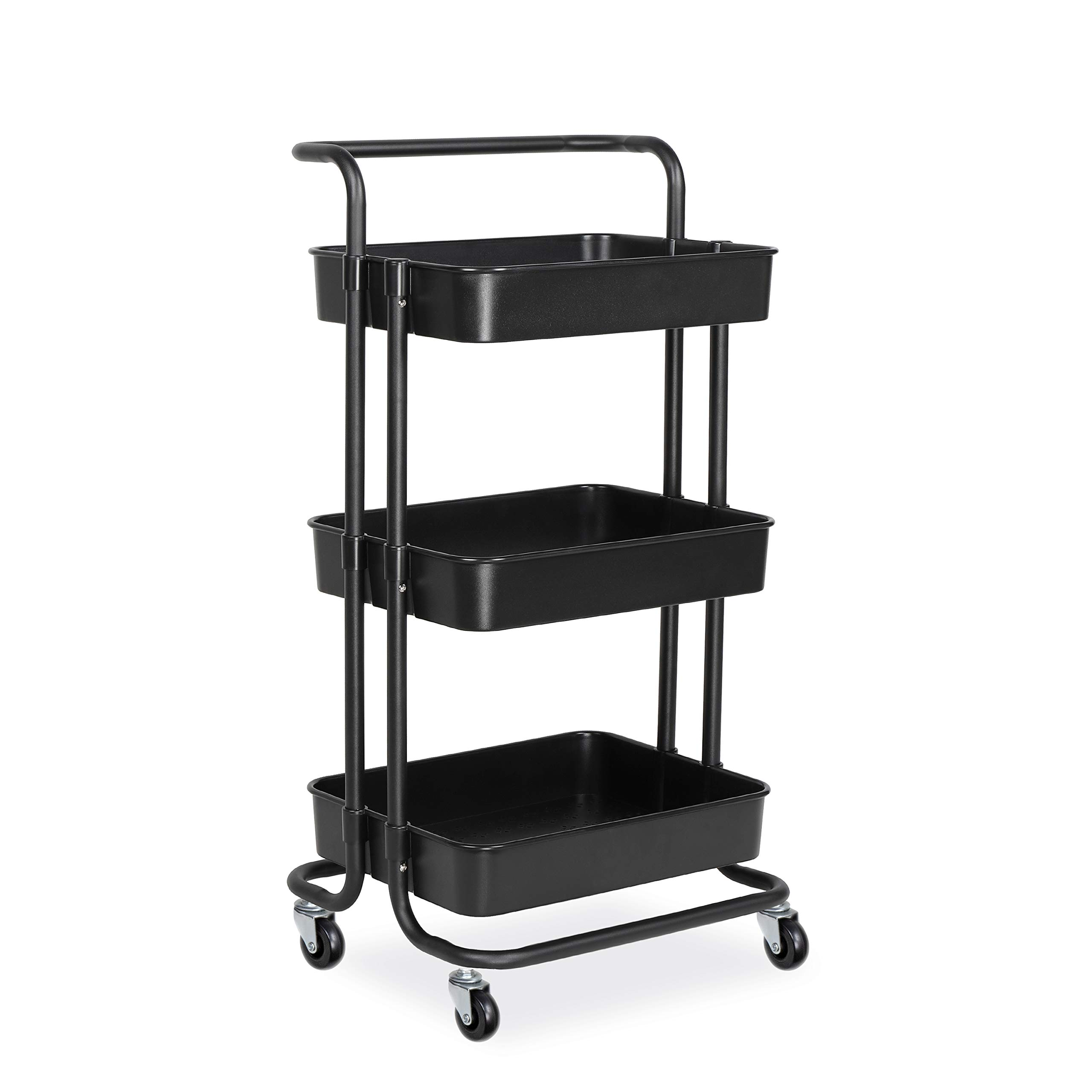 alvorog 3-Tier Rolling Utility Cart Storage Shelves Multifunction Storage Trolley Service Cart with Mesh Basket Handles and Wheels Easy Assembly for Bathroom, Kitchen, Office (Black) by alvorog