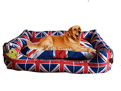 Pet Guru Union Jack Deluxe Large Luxury SOFTPET - Cama de Perro, sofá, cojín