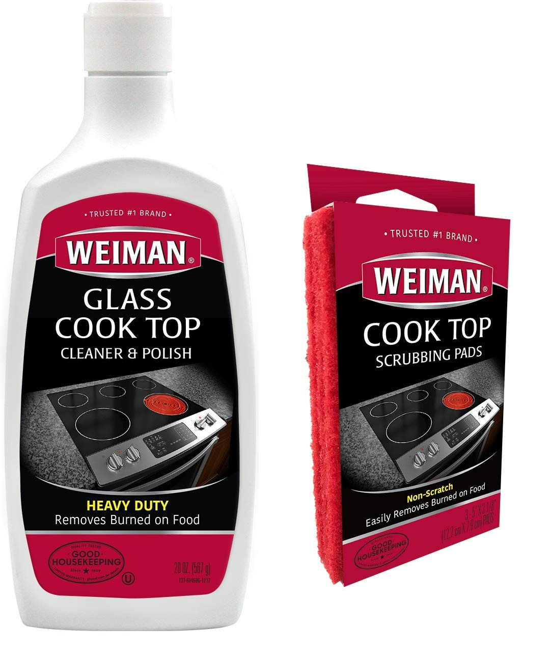 Weiman Ceramic & Glass Cooktop Cleaner and Polish - 20 Ounce - 3 Pads - Heavy Duty Cooktop Scrubbing Pads - Shines and Protects Glass and Ceramic Smooth Top Ranges with its Gentle Formula