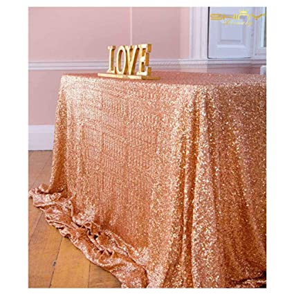 Amazon.com  6ft Rectangle Rose Gold Sequin Tablecloth in 90  132 ... d17c8c2259bc