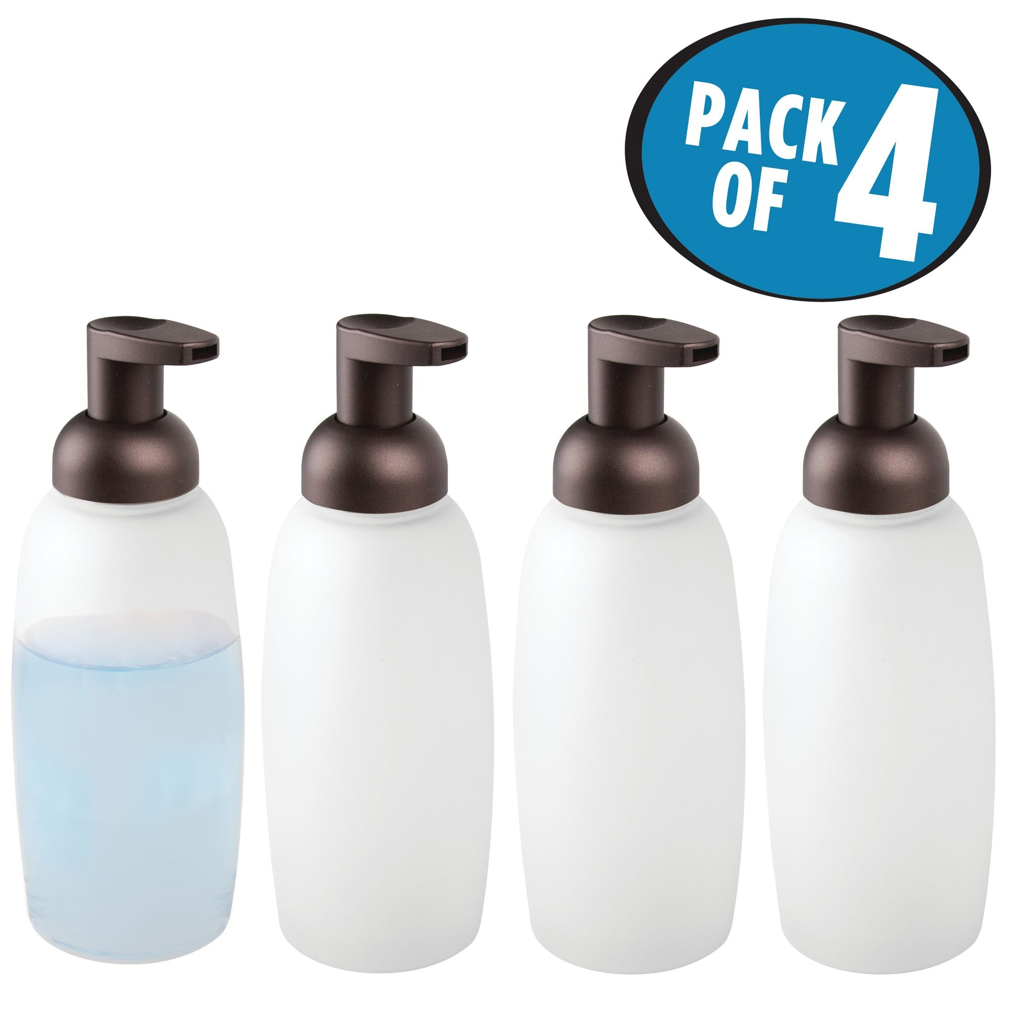 mDesign Modern Glass Refillable Foaming Soap Dispenser Pump Bottle for Bathroom Vanities or Kitchen Sink, Countertops - Pack of 4, Frost with Bronze Pump Head