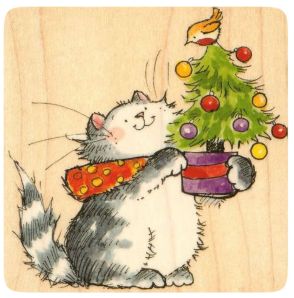 {Single Count} Unique & Custom (3 1/4'' by 3 1/2'' Inches) ''Housecat & Tweety Bird Christmas Scene'' Rectangle Shaped Genuine Wood Mounted Rubber Inking Stamp