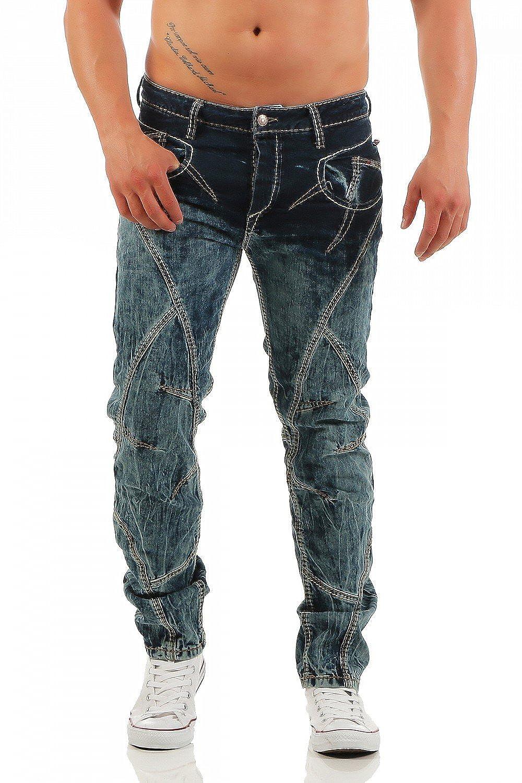 CD-289 CIPO /& BAXX Regular Fit dicke Naht Herren Blau Jeans Hose