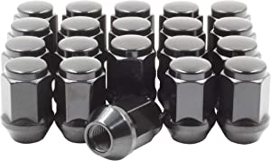 "Set of 20 Lug Nuts Closed End Bulge Acorn Lug Nut Style 1.38"" Long Cone Seat 19mm (3/4"") Hex Wheel Lug Nut (M14x1.5, Black)"