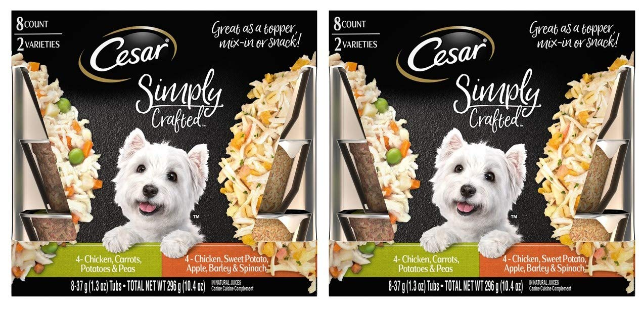 Cesar Simply Crafted Adult Wet Dog Food Cuisine Complement Variety Pack, Chicken, Carrot, Potato & Peas, & Chicken, Sweet Potato, Apple, Barley & Spinach, (Pack Of 16) 1.3-Oz Tub by Cesar