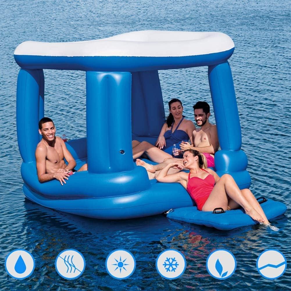 BLLJQ Isla Flotante Inflable, Flotador de la Piscina Multiusos para 4 Personas con Sombrilla, Juguete Inflable de Salón de Fiesta de Verano