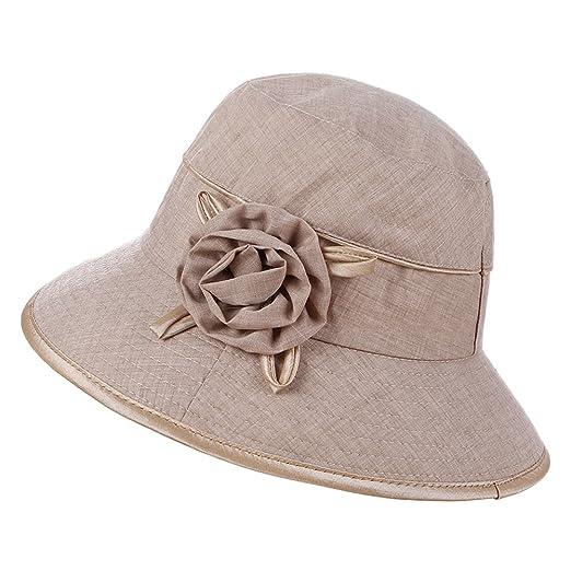ba9a534a596eb Women Foldable Bucket Hat Wide Brim Flower Sun Cap for Spring Summer Beach  Trip Beige