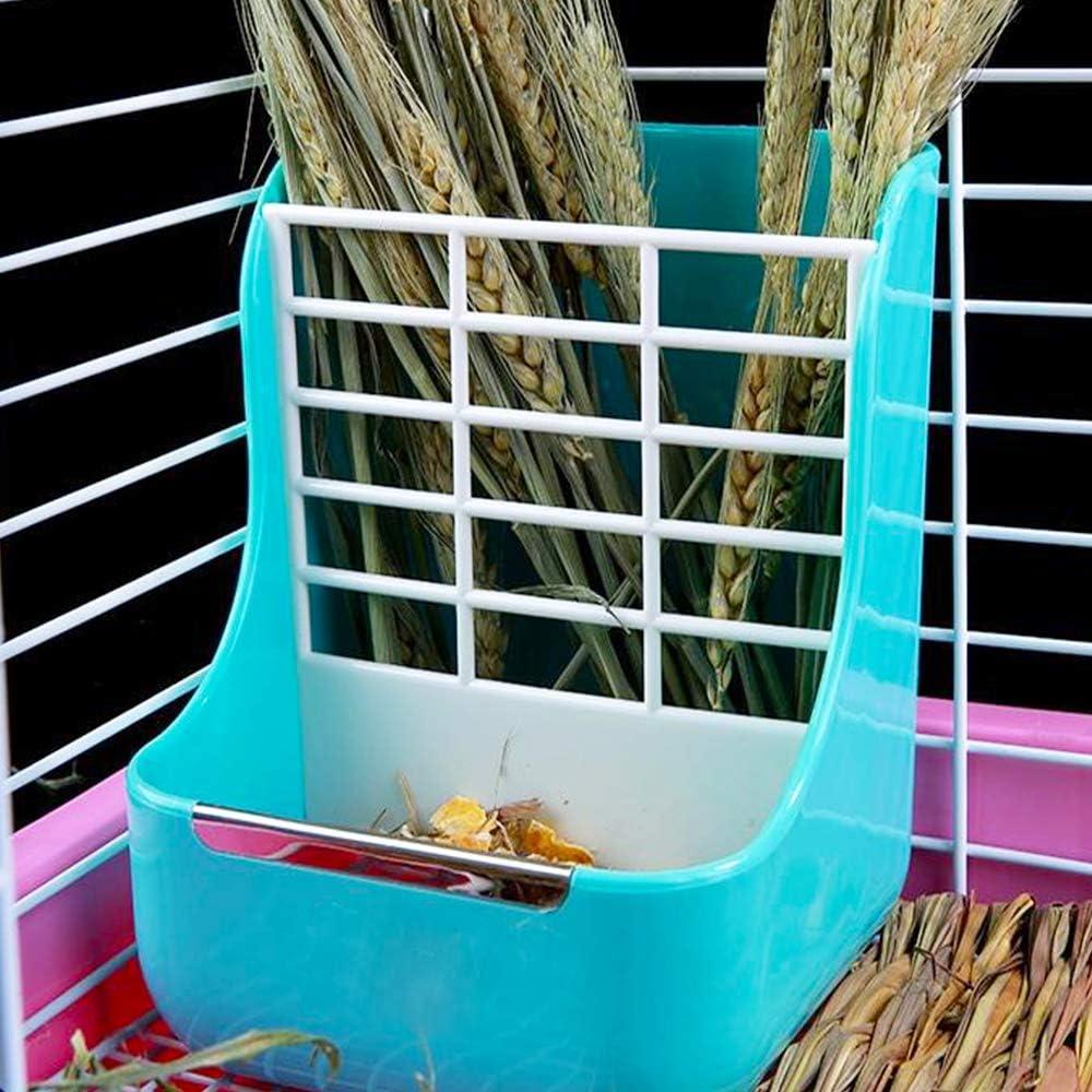 MINGZE Alimentador de heno para Conejo, para Chinchillas, Grandes, cobayas, contenedores de Alimentos 2 en 1,Contenedor de Recipiente de Comida Fija (Azul)