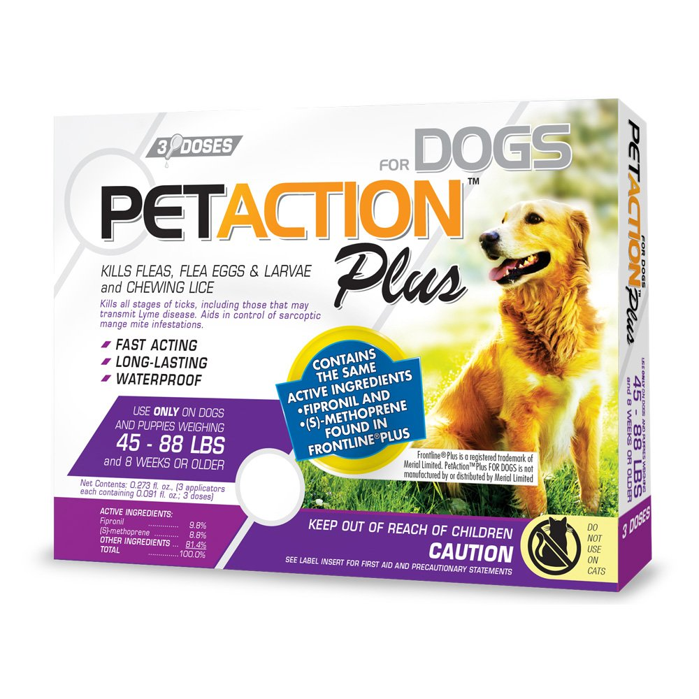 Pet Action Plus Flea & Tick Treatment for Large Dogs, 45-88 lbs, 3 Month Supply