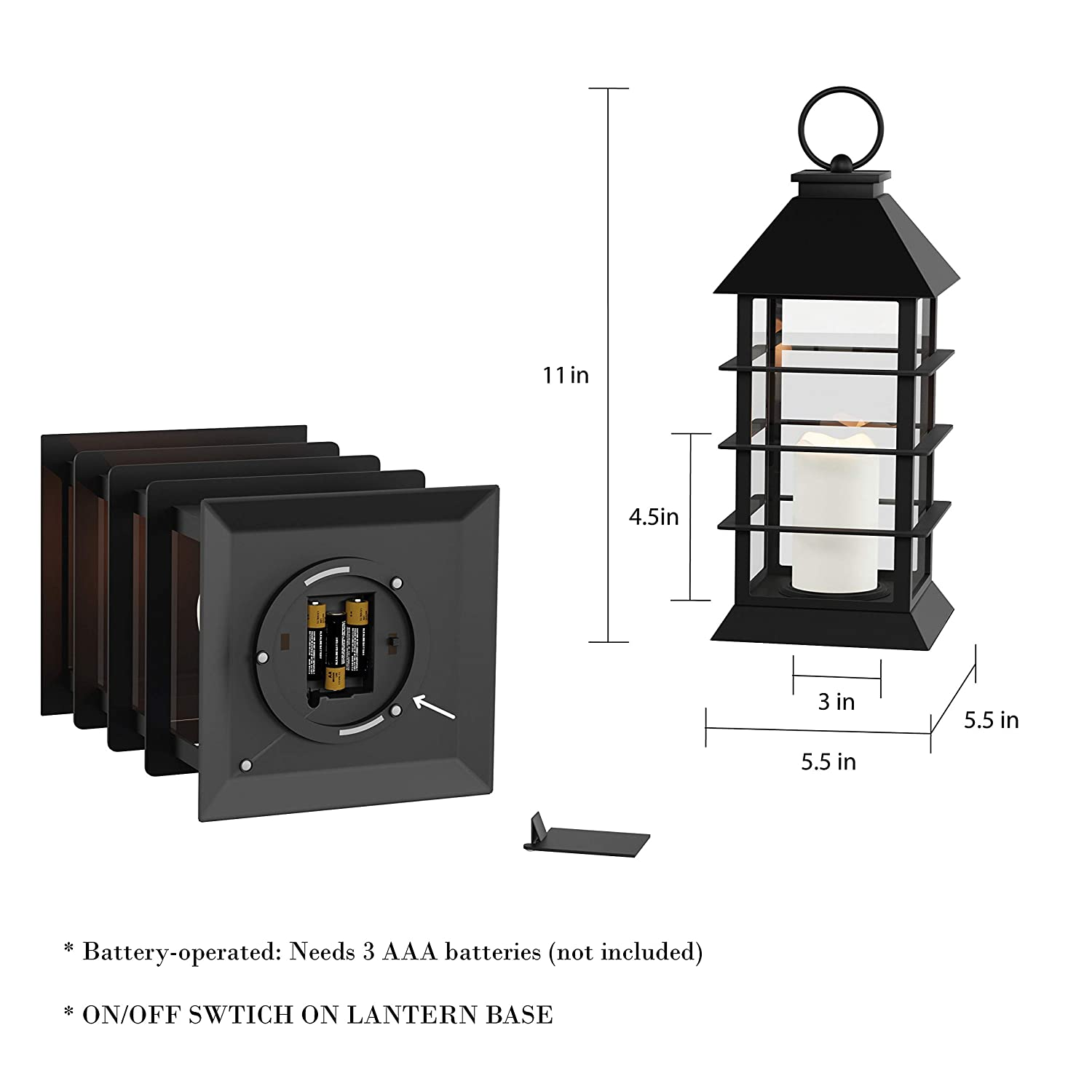 Lavish Home Decorative Lantern with Vintage Grid Design-Color Changing Flameless LED Pillar Candle and Remote Control with Timer Trademark 72-LNTN-1