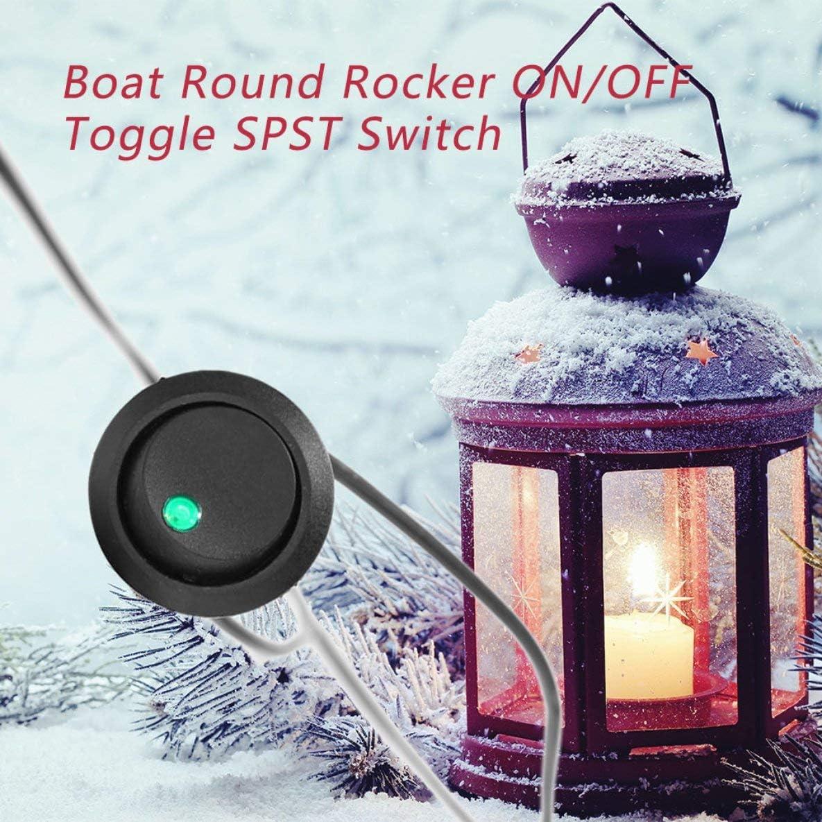 um unerw/ünschte Drehung zu verhindern Rouku LED-Punktlicht 12 V Auto Auto Boot Runde Wippe EIN//AUS Kippschalter LKW mit Schl/üssellochschlitz
