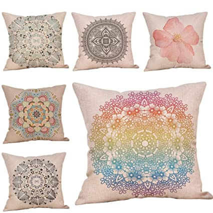 Vintage Bohemian Floral Pillow Cases Retro Flower Cotton Linen Enchanting Decorating Pillow Cases