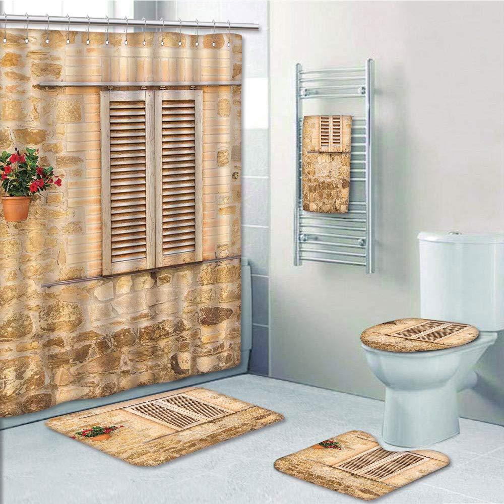Bathroom 5 Piece Set shower curtain 3d print Customized,Tuscan,Rustic Stone House and Window Shutters Flower Pot on Wall Italian Country Home Theme,Beige,Bath Mat,Bathroom Carpet Rug,Non-Slip,Bath Tow