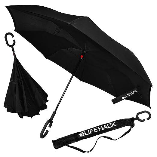 Paraguas invertido por mrlifehack - Reverse plegable Inside Out paraguas - mantiene su ropa, coche, y Casa seco - 100% resistente al viento doble capa - con ...