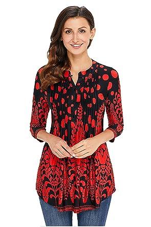 boutique de sortie comment chercher grande variété de modèles Winfon Tunique Femme Chic a Fleur Fluide Manche 3/4 Blouse Top Tee Shirt  Longue