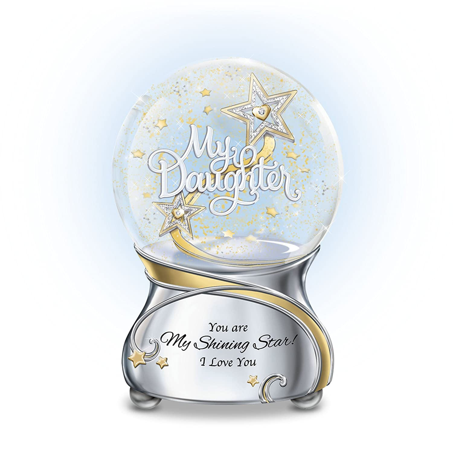 'My Daughter, You Are My Shining Star' Glitter Globe – A unique illuminated glitter globe with Swarovski® crystal hearts, plays: 'You Are So Beautiful'. Poem card. Exclusive to The Bradford Exchange 'My Daughter