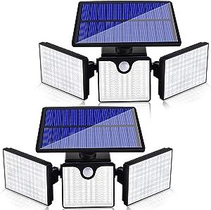 Ambaret Solar Security Lights Outdoor 3 Head Motion Sensor Lights Adjustable 266 LED Flood Lights Solar Outdoor Spotlights 360° Wall Light for Yard Stairway Security Lighting, 2Pack