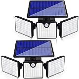 Ambaret Solar Security Lights Outdoor 3 Head Motion Sensor Lights Adjustable 266 LED Flood Lights Solar Outdoor Spotlights 36