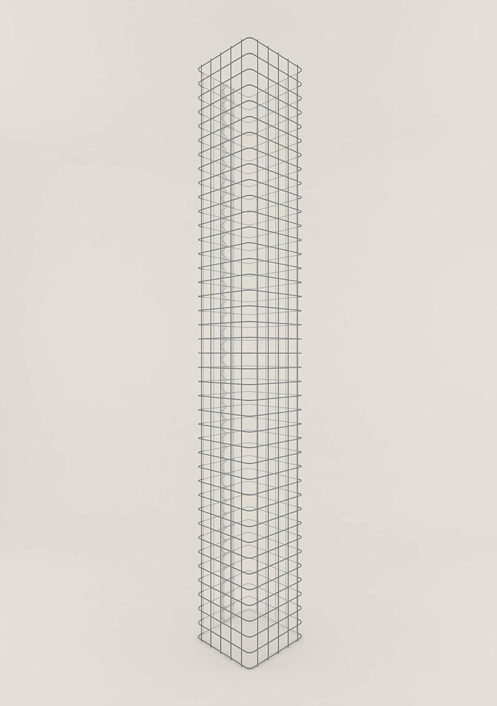 Säule Steinkorb-Gabione eckig, Maschenweite 5 x 5 cm, Höhe 230 cm, Spiralverschluss, galvanisch verzinkt (27 x 27 cm)