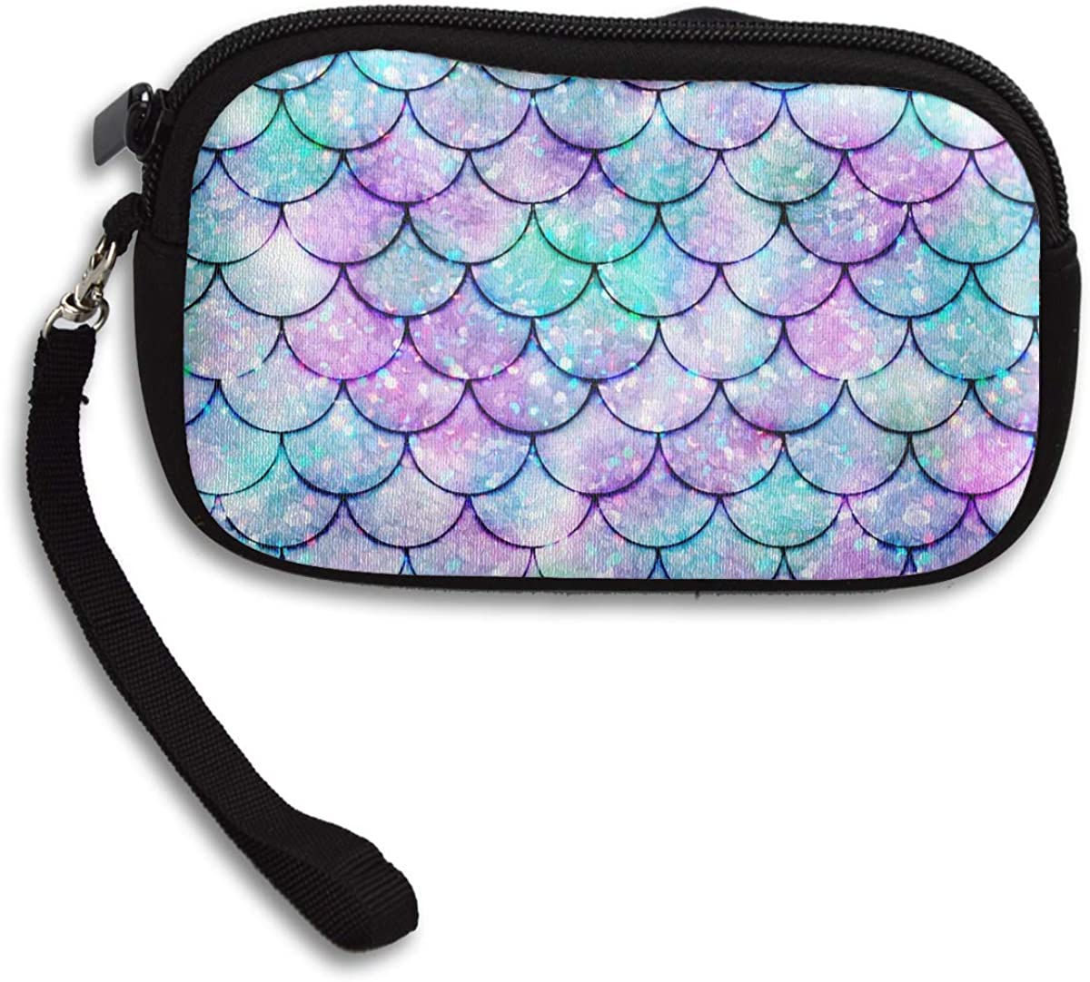 Small Clutch Organizer Wallets Ladies Clutch Long Purse Portable Tote Purse Travel Purse Wristlet Tote Bag Beautiful Sparkling Mermaid Scales Wristlet Clutch Wallet for Women Girls