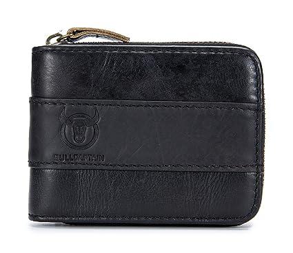 e4e35e2a4cff4 BULLCAPTAIN Genuine Leather Mens Wallet Bifold Vintage Men Wallets Credit Cards  Holder (Black)