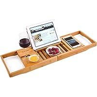 HANKEY Bamboo Bathtub Caddy Tray (Extendable) Luxury Spa Organizer with Folding Sides | Natural, Ecofriendly Wood…