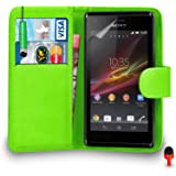 Sony Xperia M Case - Premium Leather GREEN Wallet Flip Case Cover Pouch with Mini Touch Stylus Pen RED Dust Stopper Screen Protector & Polishing Cloth SVL1, (WALLET GREEN)