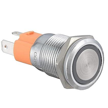 19mm 12V Car White LED Symbol Angel Eye Metal Push Button Switch Socket Sales