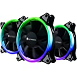 Case Fan, AMZtronics 3-Pack 12 RGB LED 120mm Quiet Edition High Airflow Adjustable Color LED Fan for Computer Cases, CPU Coolers, and Radiators
