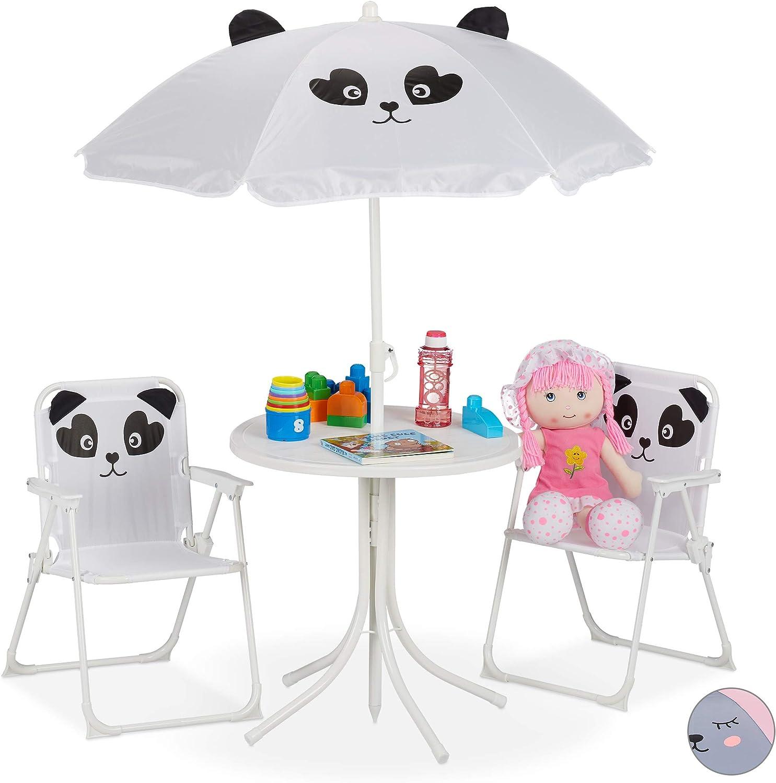 Relaxdays Mobiliario Infantil para jardín, Sombrilla, Sillas Plegables, Mesa para niños, 4 Uds, Panda, Blanco, Hierro