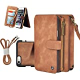 "Cornmi iPhone 6s Plus Case, Multifunctional Leather Zipper Wallet Detachable Flip Cover Coin Purse, 14 Card Slots Stand Case for iPhone 6 Plus 5.5"", iPhone 6s Plus 5.5"" (Brown for iPhone 6/6s Plus 5.5"")"
