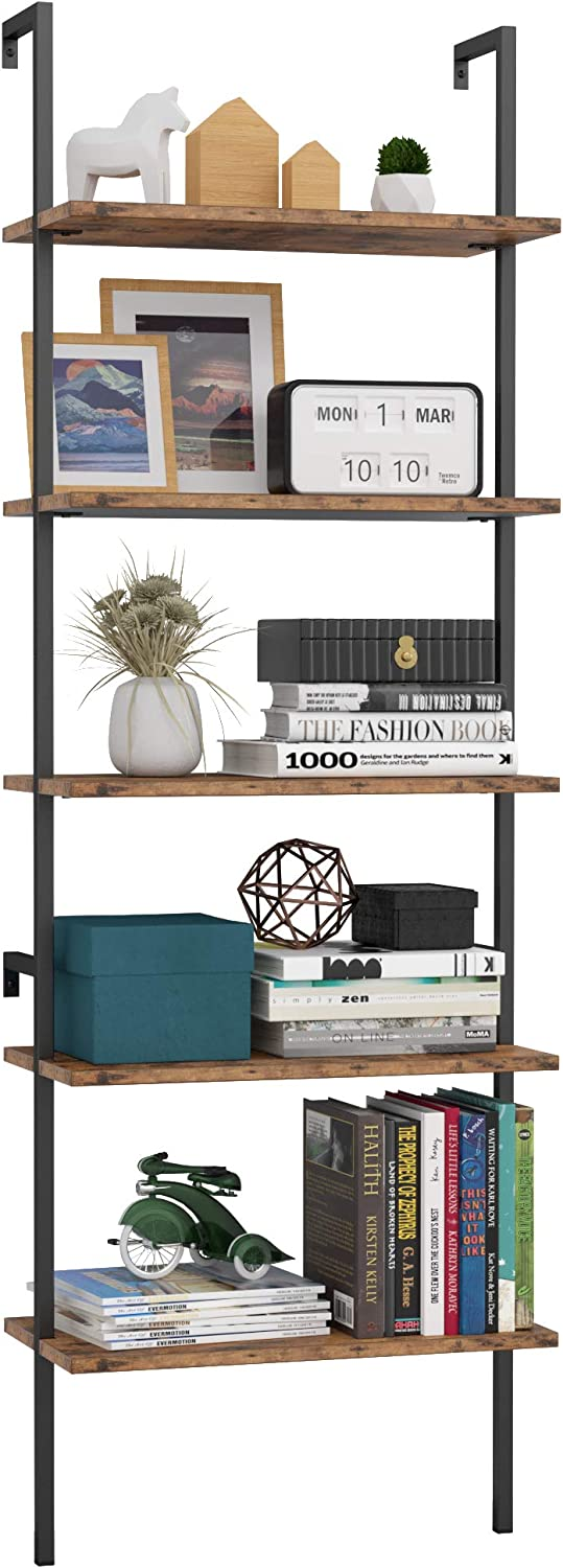 IRONCK Industrial Bookcase 5 Tier Ladder Shelf, Display Storage Wood Shelves Wall Mounted, Plant Flower Stand Organizer Bookshelf, Rustic Wall Decor, for Living Room, Kitchen, Bar Storage