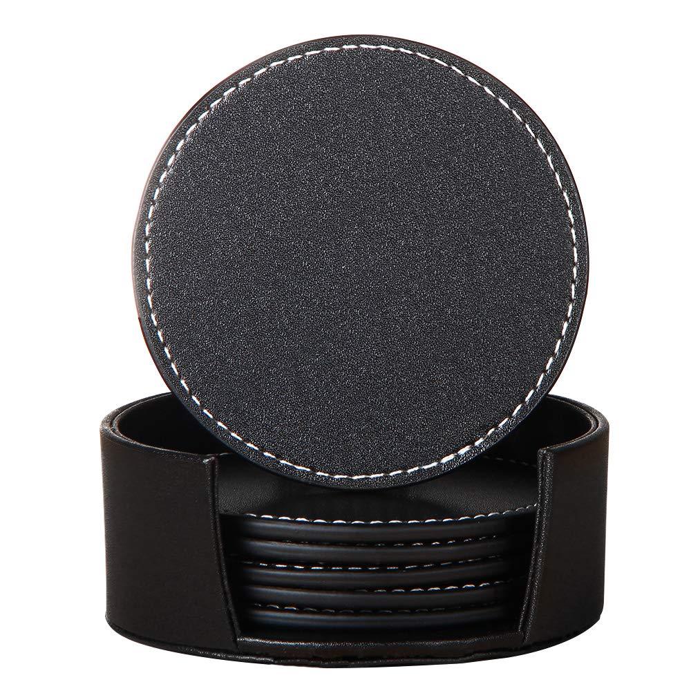 YAPISHI Drink Coasters Set , Faux Leather Coasters Set Table Decorative for 6 with Holder (Black,Round)