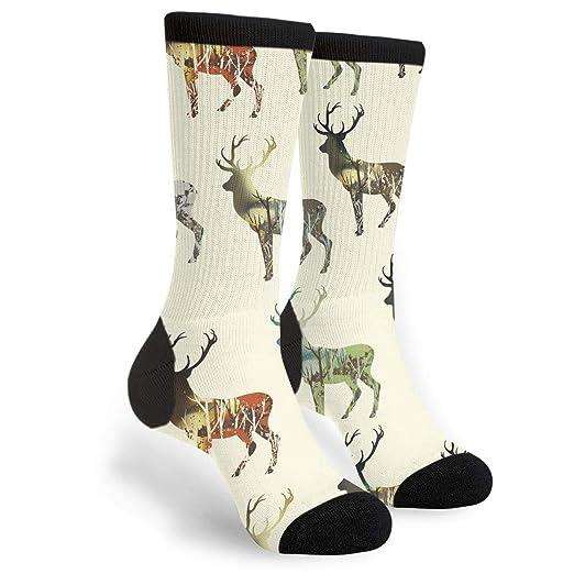 73d6bb46faf52 Fashion Travel Breathable Socks Wood In Deer Silhouette Men & Women ...