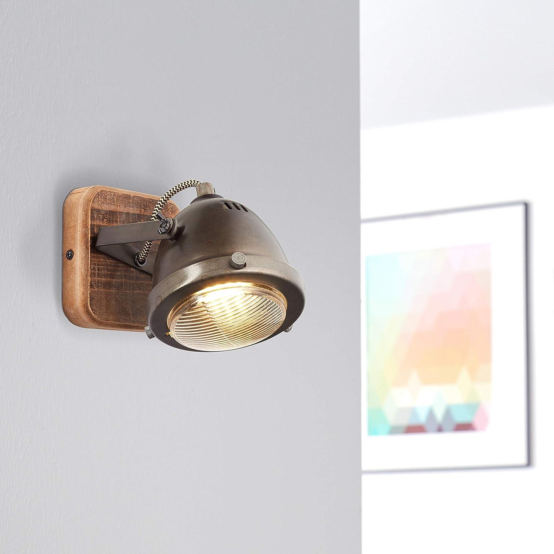 Lámpara de pared Lightbox retro, regulable, 1 foco, foco de pared LED interior orientable, casquillo GU10 para máx. 5 W, metal, acero marrón.