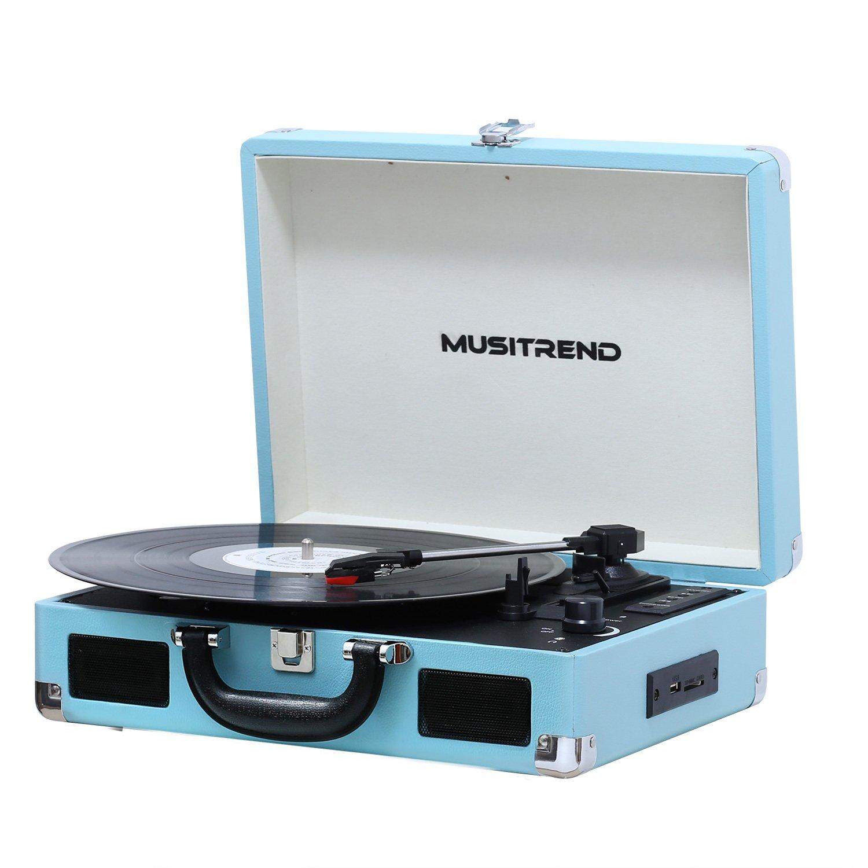 Musitrend Tocadiscos  RPM Seleccionables Maleta Portátil con Altavoces Integrados con RCA